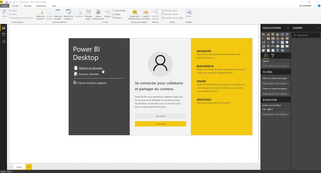 On commence le projet Power BI Desktop par l'importation des données
