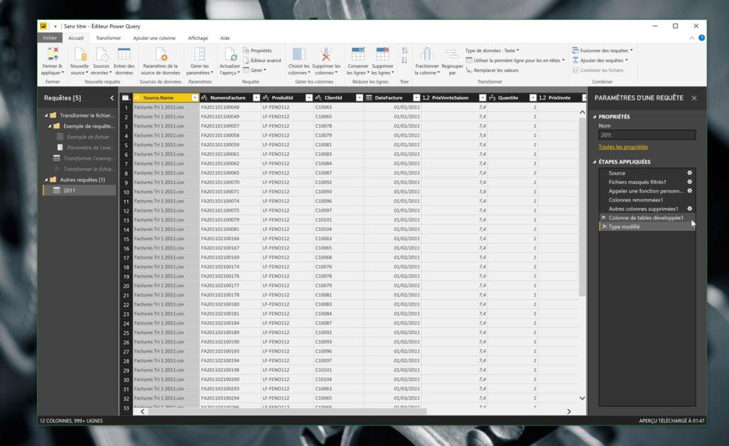 L'éditeur Power Query, avec la visualisation des données et la liste des requêtes appliquées