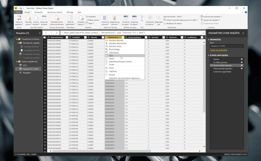 On choisit manuellement le type de chaque colonne, dans l'éditeur Power Query