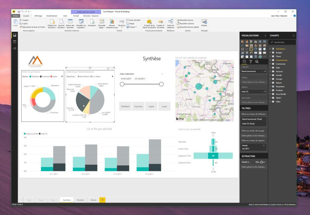 Power BI Desktop collecte vos données, les enrichit et les modélise pour aboutir à des rapports visuels